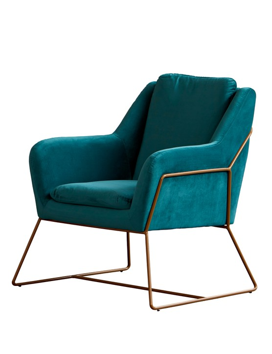 Its sculptural shape and rich teal hue makes this Mentosa chair a striking centrepiece. £294.99 from My Furniture