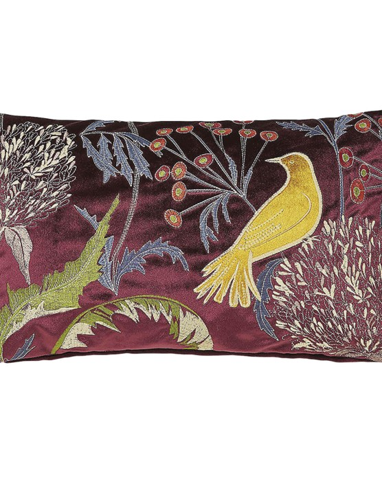 Embroidered bird cushion, £15, Dunelm