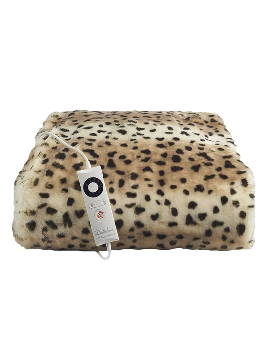 Deluxe faux fur heated leopard throw, £119, Dreamland