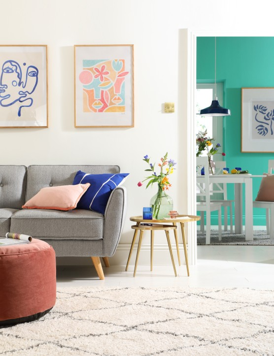 Grey is such a versatile colour, so don't be afraid to be bold - bring it to life with a dash of coral or turquoise! Image credit: Furniture and Choice