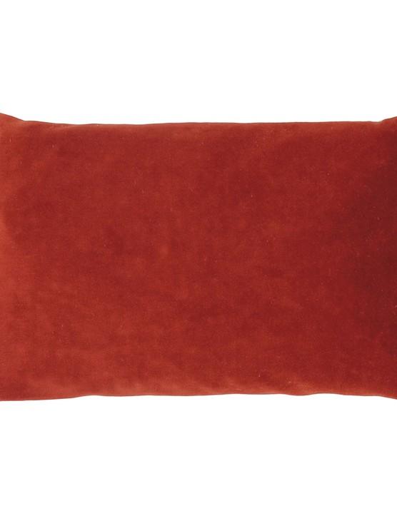 Cherry stone cushion in Paprika velour, €48, Caravane
