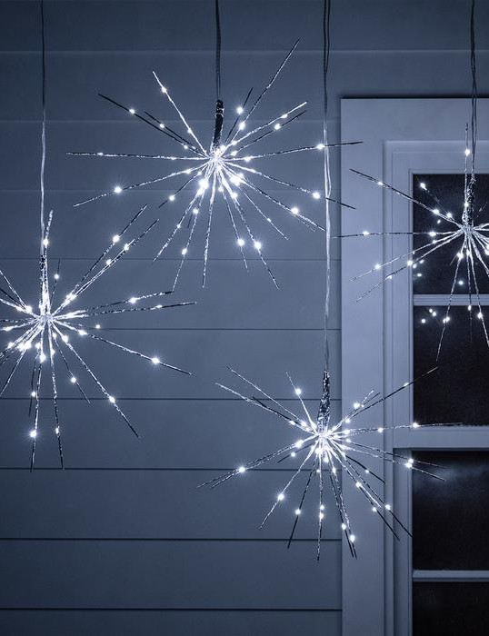 4 Silver Starburst Sparkling Christmas Lights, £44.99, Lights 4 Fun