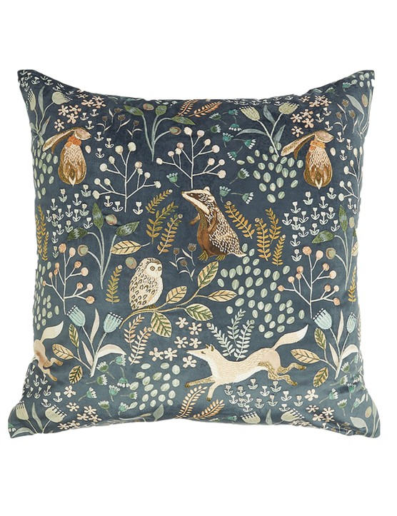 Woodland print embroidered cushion, £22.50, M&S