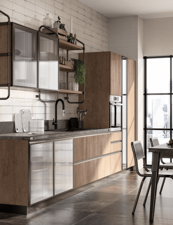 Diesel Open Workshop kitchen by Scavolini with Landscape Oak textured melamine and Ribbed Glass doors. Bronze aluminium has been used for the door frames and Stock Rack open shelving above, while the worktop is Muné Grey laminate
