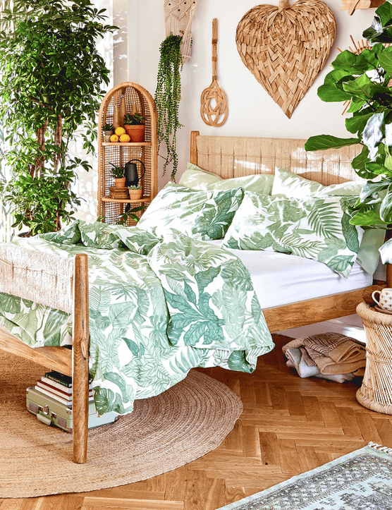 Try adding rattan wall decor for a boho feel. Image credit: Urban Outfitters