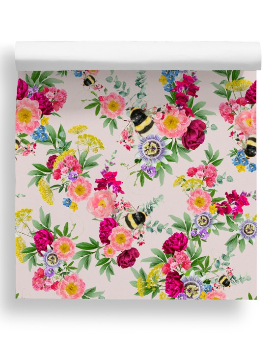 Mixed bee slightly pink wallpaper, £99, Lola Design