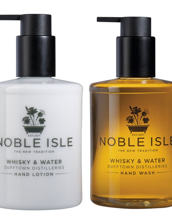 Noble Isle whiskey and water hand lotion, £21; Noble Isle whiskey and water hand wash, £19, both Amara