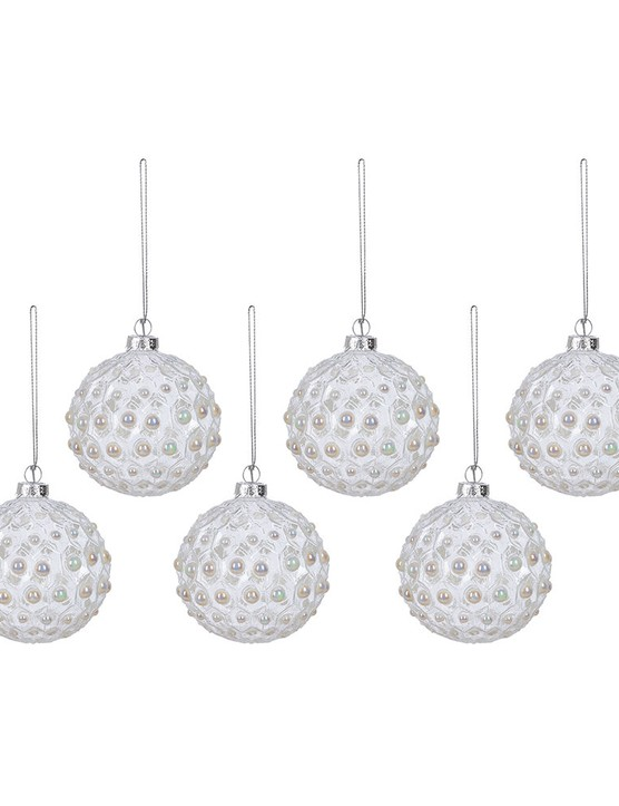 Geo Pearl Glass Bauble - Set of 6, £30, Amara