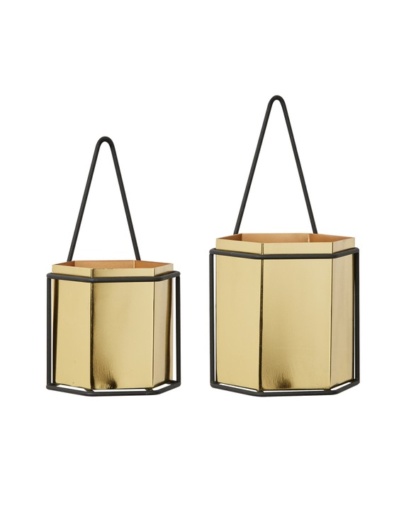 Gold Hexagonal Hanging Plant Pots, £39.50 for a set of two, Oliver Bonas