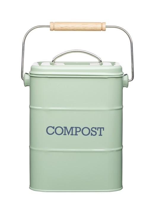 Living Nostalgia metal kitchen compost bin in English Sage Green, £12.99, KitchenCraft