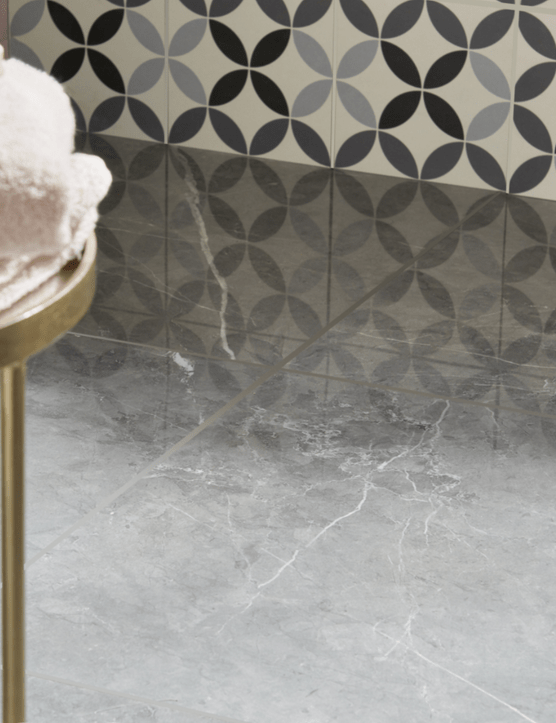 Ultimate Grey Marble effect floor tile, £26.50 for a pack of 3, B&Q