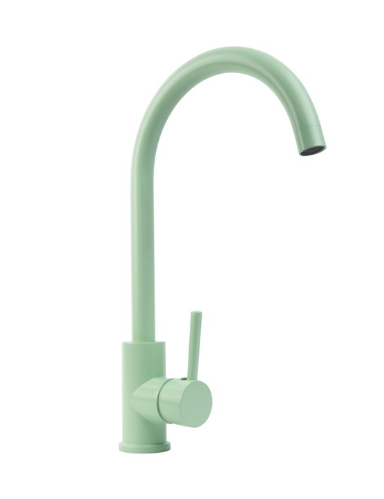 Tinkisso colour pop contemporary kitchen tap in Neo Mint, £99.99, Dowsing & Reynolds