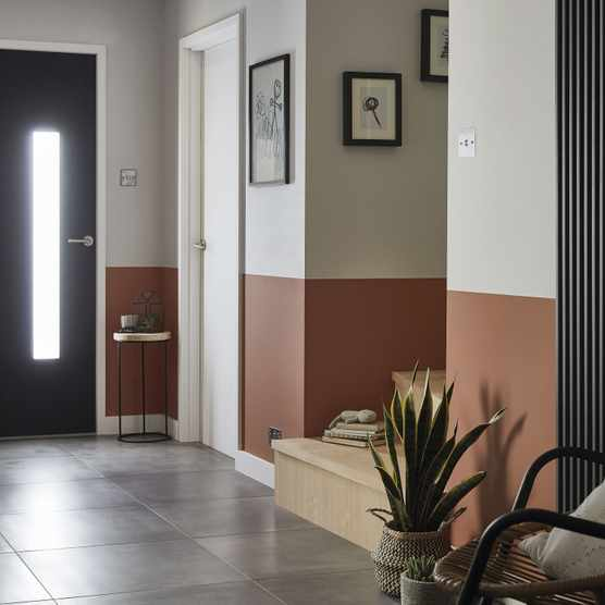 GoodHome paint in Hempstead, £16 for 2.5l; GoodHome paint in Pimlico, £16 for 2.5l; konkrete anthracite porcelain floor tile, £15.20 per sq m; GoodHome kensal vertical anthracite radiator, £180; GoodHome brushed chrome recessed downlights, £23 for three, all B&Q