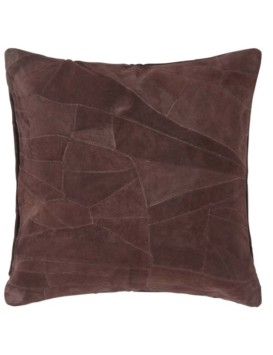 Chocolate brown real leather suede cushion, £14.49, Homescapes