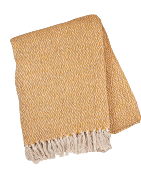 Mustard yellow blanket throw, £20, Home Luxe Co