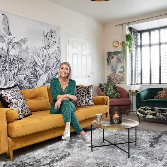 Woman on sofa in a living room