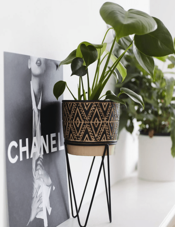 Black nomad planter with wire stand, £20, Missguided Home