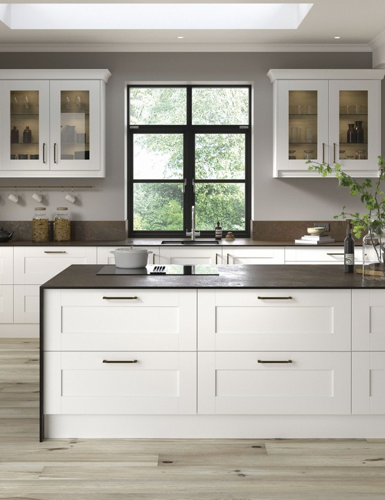 Whitstable cotton white kitchen from the Country Living Collection, from £1,760 for an eight-unit kitchen, Homebase