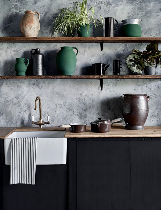 Kitchen Wall Paint In Original, Chalk Paint In Graphite, Chicago Grey and Athenian Black, all Annie Sloan