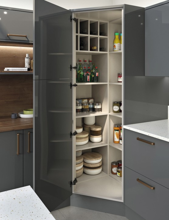 This corner larder optimises space that's often hard to reach, allowing you to view and access the contents with ease. Complete kitchens start from around £4,000, LochAnna Kitchens