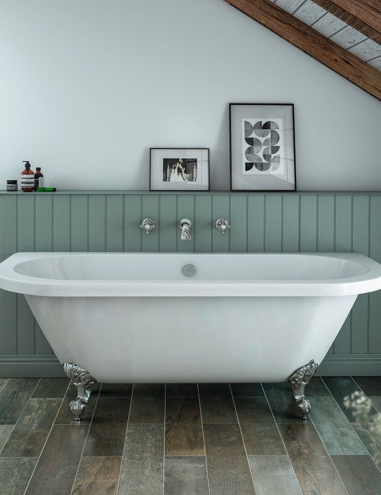 Admiral acrylic roll-top bath with height adjustable ball and claw feet, £469.95, Victorian Plumbing