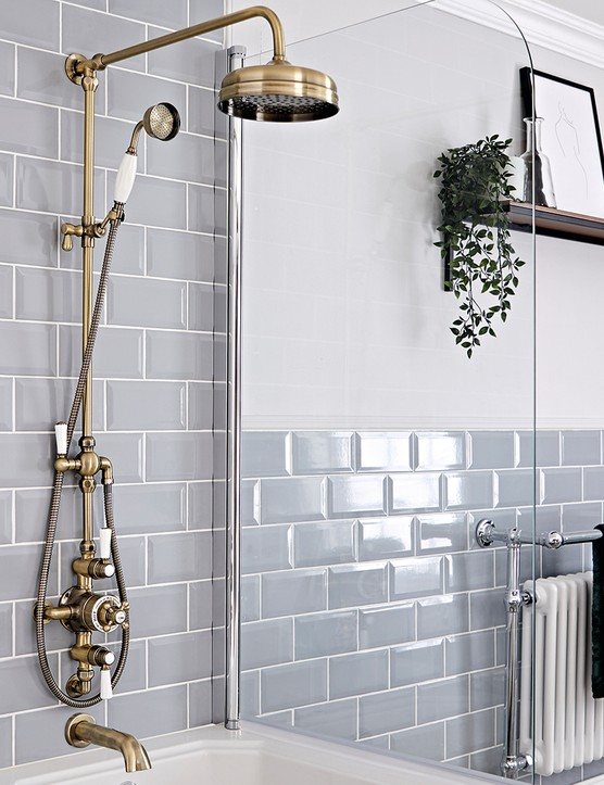 Milano Elizabeth traditional exposed thermostatic shower in Brushed Gold, £439.99, Big Bathroom Shop