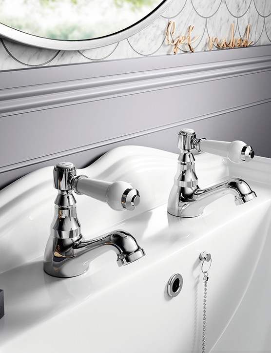 Cherwell hot and cold basin taps in chrome finish, £34.99 for the pair, Bathroom Mountain