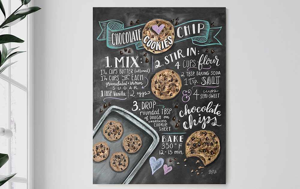 Chocolate chip cookies recipe print by Lily & Val