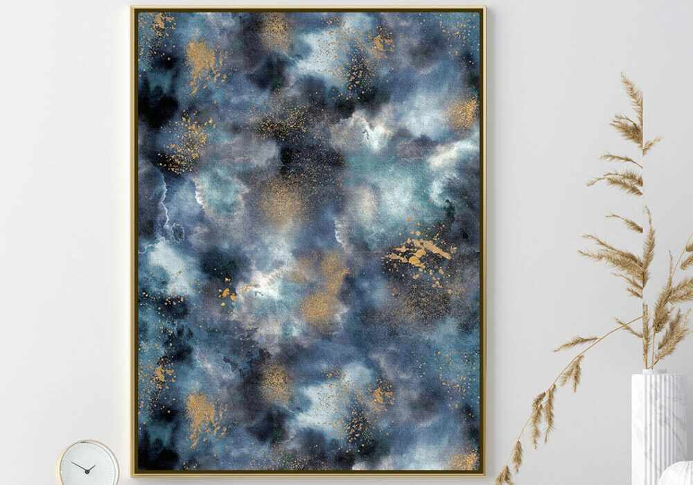 Marble in blue and gold print by Ninola Design