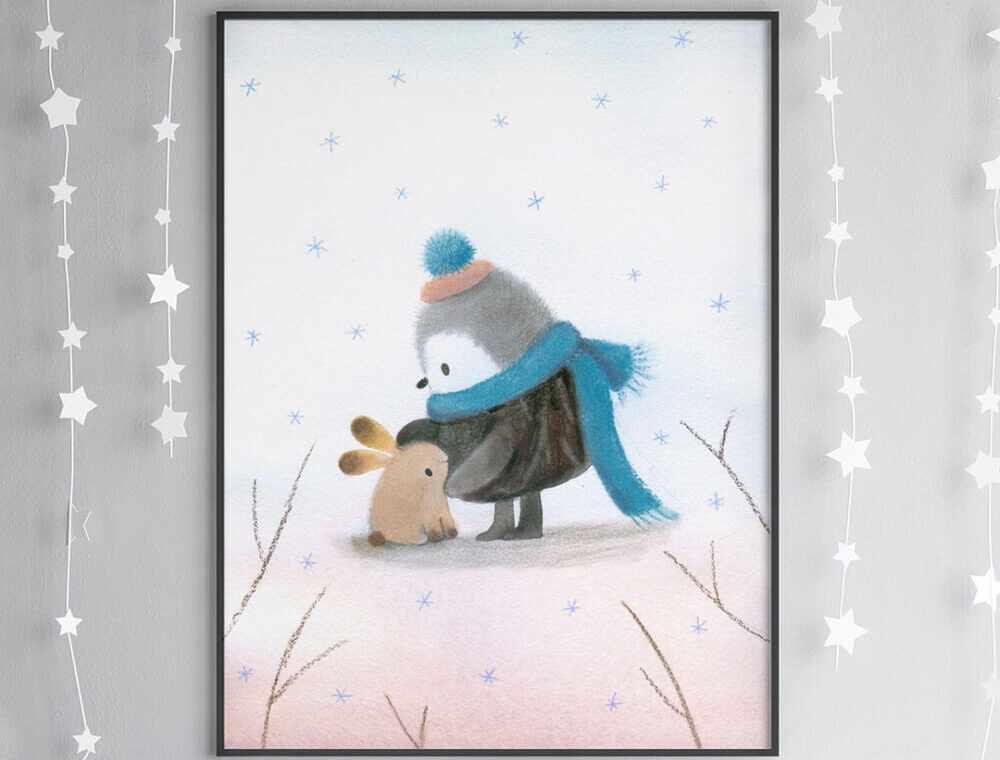 Penguin friend poster by Dubravka Kolanovic