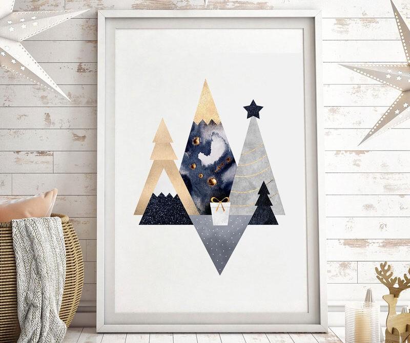 Christmas Mountains print by Elisabeth Fredriksson