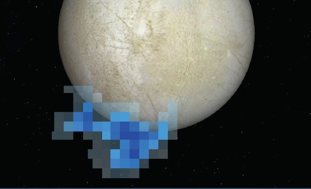 Graphic derived from science probes showing Europa's water vapour
