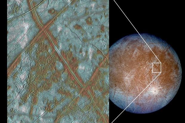 he region of Europa known as Conamara Chaos, imaged by Galileo © NASA/JPL/University of Arizona