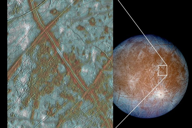 he region of Europa known as Conamara Chaos, imaged by Galileo © NASA/JPL/University of Arizona