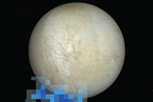 The location of ionized oxygen and hydrogen (strongly pixellated) detected by the Hubble Space Telescope in December 2012, superimposed on a Galileo image of Europa. Until now, this was the only evidence of active plumes © NASA/ESA/L. Roth/SWRI/University of Cologne
