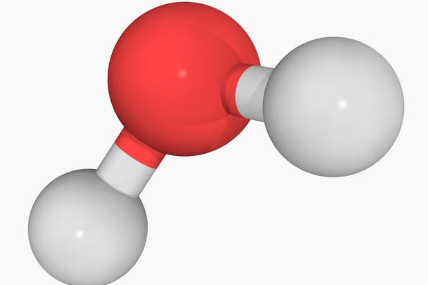 A water molecule consists of one oxygen atom and two hydrogen atoms © Getty
