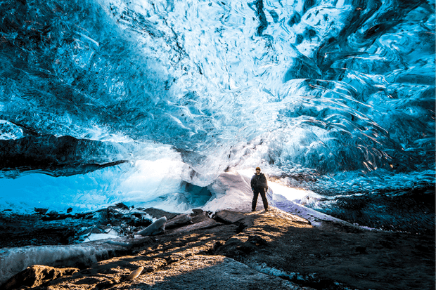 Glacier ice is blue in colour because of light scattering © Getty