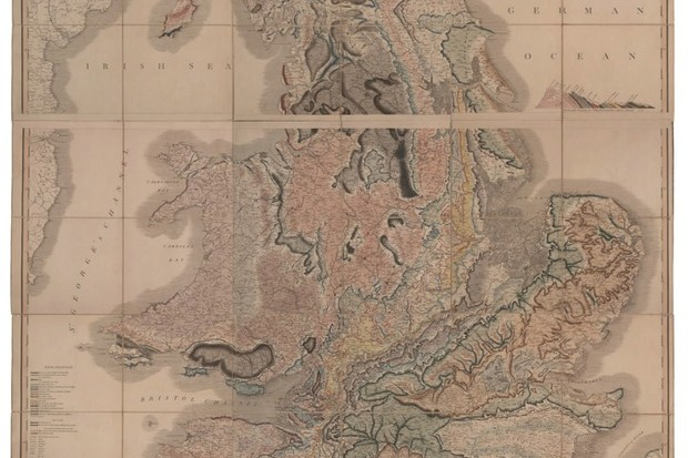 The first geological map of William Smith from 1815 reveals different rock strata in different colours © Fine Art Images/Heritage Images/Getty Images