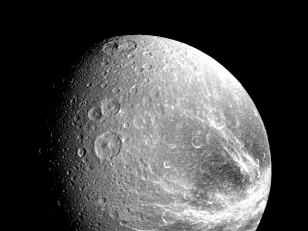 The Saturnian moon Dione, photographed on 12 November 1980 © NASA/JPL