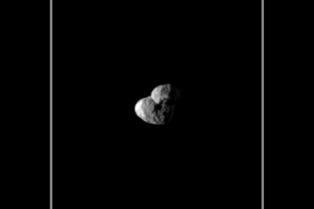 Saturn's moon Epimetheus passes in front of Janus © NASA/JPL /Space Science Institute