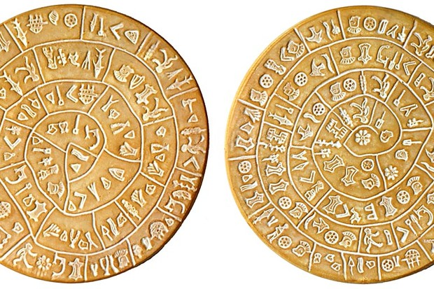 A replica of the original Phaistos disk (CC BY-SA 3.0, Link)