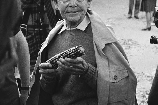 Barbara McClintock, Nobel Prize-winning geneticist, holding an ear of corn © Bettmann/Getty Images