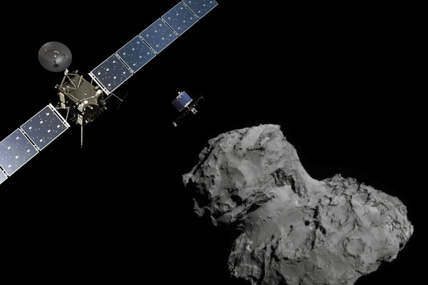 Artist's impression of deployment of Rosetta's Philae lander from the orbiter to comet 67P/C-G © ESA/ATG medialab & ESA/Rosetta/NavCam