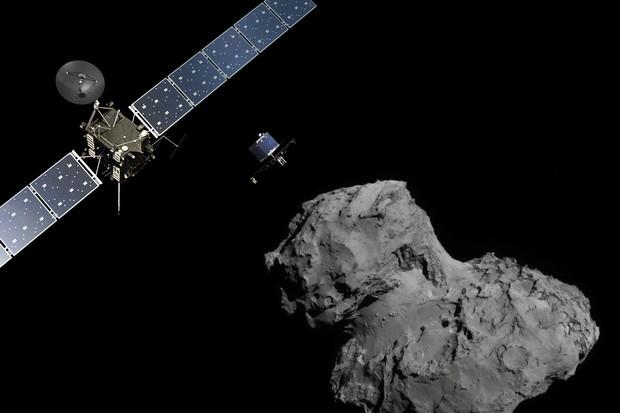 Artist's impression of deployment of Rosetta's Philae lander from the orbiter to comet 67P/C-G © ESA/ATG medialab & ESA/Rosetta/NavCam