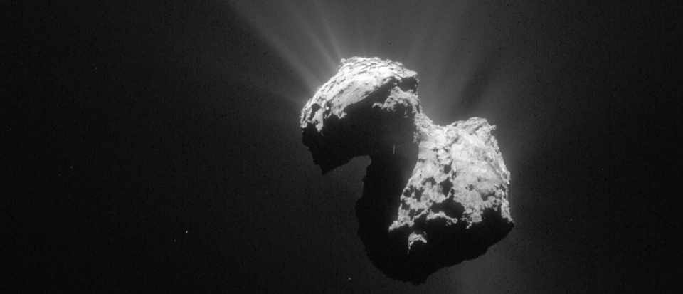"Comet 67P/C-G, known as the ""rubber duck"" taken by Rosetta's NavCam © ESA/Rosetta/NAVCAM"
