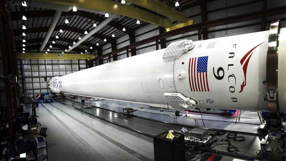 The SpaceX Falcon 9 reusable rocket on the factory floor © SpaceX