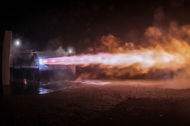 The Raptor engine during testing © SpaceX