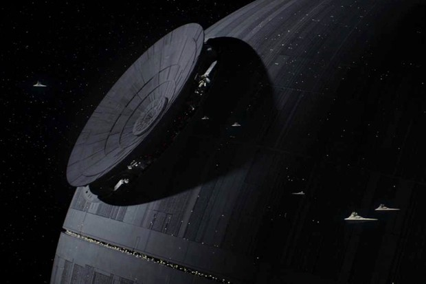 The Death Star being built in Rogue One: A Star Wars Story © 2016 Lucasfilm Ltd.