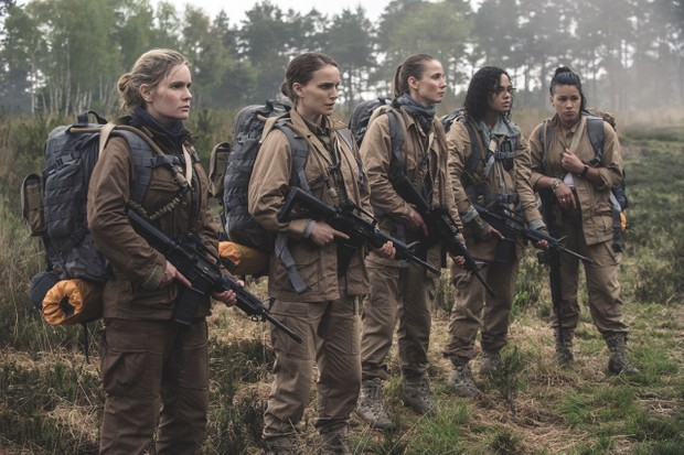 Gina Rodriguez, Jennifer Jason Leigh, Natalie Portman, Tessa Thompson and Tuva Novotnyin Annihilation from Paramount Pictures and Skydance.