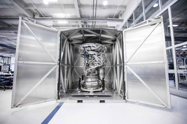A Merlin engine being prepared for testing. The Falcon X carries 10 of these engines © SpaceX